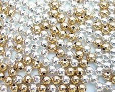 100 Round Smooth Silver and Gold Plated Beads Mix 5MM