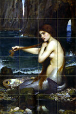 Art John William Waterhouse Mermaid Mural Ceramic Backsplash Bath Tile #902