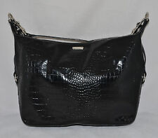 Ralph Lauren Polo Leather Hobo Shoulder Bag Purse Handbag Croco Black New