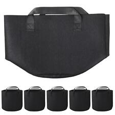5 Pack 5 Gallon Round Grow Bag w/ Handles Plant Pouch Garden Hydroponic Black