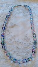 Vintage ART DECO BIG Bead RAINBOW IRIS GLASS STERLING Clasp NECKLACE