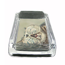 "Funny Cat Glass Ashtray D6 4""x3"" Silly Crazy Meow Cool Kitten"