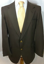 Hart Schaffner Marx Mens 43R Portly Solid Brown Two Button Blazer Made in USA