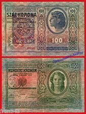 FIUME AUSTRIA 100 kronen coronas 1912 1919  Pick S115 BC  /  F