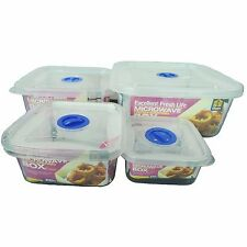 4 Piece Square Microwave Lock Airtight Food Container Set Box Kitchen Storage