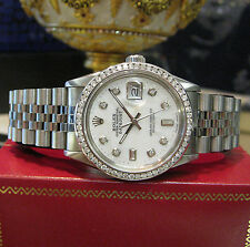 MENS ROLEX DATEJUST DIAMONDS WHITE GOLD STAINLESS WATCH