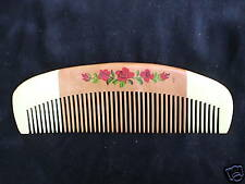"""6.25"""" NATURAL WOOD COMB w/HAND PAINTED FLOWERS- COMBINE SHIPPING!"""
