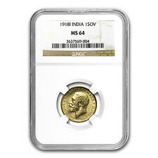 India 1918 Gold Sovereign of George V - MS-64 PCGS or NGC - SKU #27959