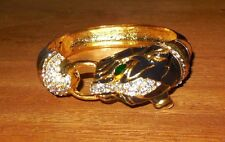 Black Panther Cuff Fancy Bracelet 18k Gold Plate Rhinestones