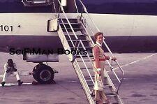 EKTACHROME 35mm Slide Pretty Woman Purse Boarding Airplane Man Fashion 1973!!!