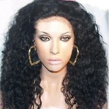 lace front wig lace wig 100% indian remy human hair curly full wigs black 16''