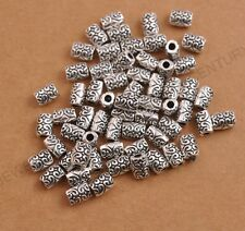 Tibetan silver big hole 2.5MM flowers tube Charms spacer beads 7X5MM C3085