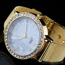 Women's Men's Crystal Roman Numerals Golden Plated Metal Mesh Band Wrist Watch