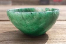 NATURAL GREEN JADE STONE HAND CARVED GEMSTONE BOWL [37]