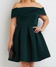 Charlotte Russe Plus Hunter Green Off The Shoulder Scuba Fit And Flare Dress 3X