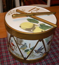 BRAND NEW WILLIAMS SONOMA GOLD TWELVE DAYS OF CHRISTMAS DRUM COOKIE JAR MINT