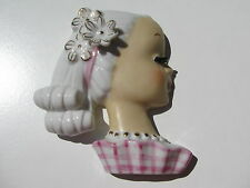 VINTAGE HAND PAINTED WALL POCKET HEAD VASE PORCELAIN POTTERY GIRL PLAID DRESS