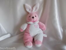 Doudou lapin rose et blanc, broderie tête d'ours, FOMAX