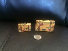 RARE (2) SUITCASE CANDY CONTAINER  MARKED GERMAN FEATHER TREE ORNAMENT ANTIQUE