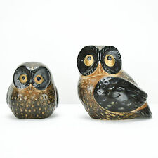 Vintage Owl Pair Brown Mid Century Owls Ceramic Set Kitschy Fun!