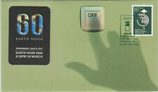 Stamp Australia 2009 Earth Hour switch off fridge magnet on limited edition FDC
