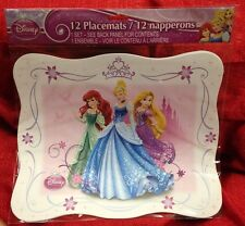 DISNEY Princess Cinderella Ariel 12 Pk BIRTHDAY PARTY PAPER PLACEMAT Table Decor