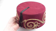 MAROON TURKISH FEZ FES TARBOOSH CONE EXOTIC OTTOMAN HAT TOMMY COOPER DR.WHO
