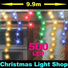 500 MULTICOLOUR LED Flashing ICICLES 10m Hanging Gutter Outdoor Christmas Lights