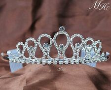 Small Light Crystal Clear Rhinestone Crown Tiara Hair Comb Combs Head Jewelry