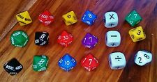 Dice 10 sided x15 (0-9,00-90,000-900,0000-9000) and Throw the Operation Dice x 3
