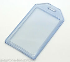 5 Blue Vertical Plastic ID Card Badge Holder 10.5x6cm