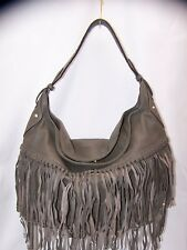 orYANY Soft Nappa Leather Fringe Hobo Stevie SMOKE New $263