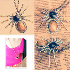 Fashion Vintage Rhinestone Sparkle Spider Pendant Long Chain Necklace New Hot
