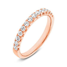 Womens 0.50CT 14K Rose Gold Brilliant Round Cut Diamond Wedding Band Ring Size 6