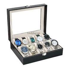 10 Watch Box Mens Black Leather Display Glass Top Jewelry Case Organizer & LOCK