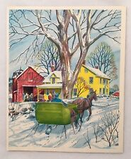 Vintage Christmas Card People Sleigh Horse House Red Barn Farm Silver Tree Wave
