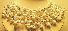 Vintage 50's Chunky Plastic Lucite Drop Bead Necklace White Multi 3 Strand Japan