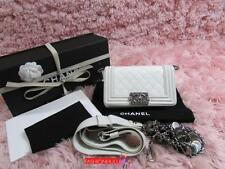 Auth 2012 CHANEL SMALL Medallion LE BOY Off White Flap Bag Ruthenium HW