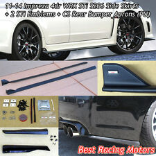 S206 Style Side Skirts + Bottom Line Rear Aprons + Emblems Fit 11-14 Impreza 4dr