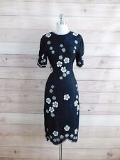 L6-45 Elegant SCALA Paris Black White Floral Beaded Formal Silk Pageant Dress S
