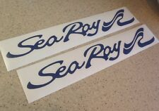 """Sea Ray Vintage Boat Decal 18"""" NAVY Die-Cut 2-PAK FREE SHIP + FREE Fish Decal!"""