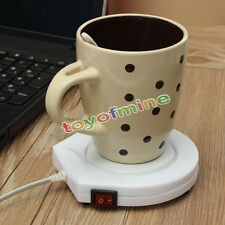 220v White Electric Powered Cup Heater Warmer  Pad Coffee Milk Tea Mug US Plug