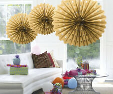 GOLD HANGING HONEYCOMB PARTY DECORATION FAN 45CM