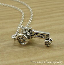 Silver Farm Tractor Charm Necklace - Farmer Agriculture Pendant Jewelry NEW