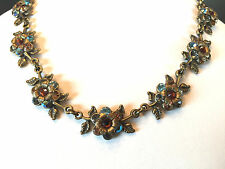 "C Michal NEGRIN Swarovski Crystal Flowers Leaves Necklace 16-18"" Antique Brass"