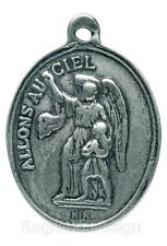 GUARDIAN ANGEL / VIRGIN MARY Medal, silver, cast from antique French original