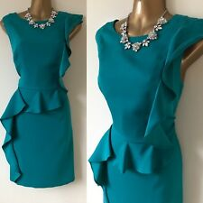 Oasis Dress Size 14 Teal Waterfall Evening Occasion Party Races.