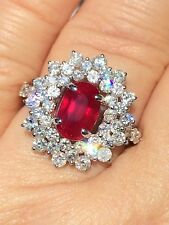 18K GOLD 4.61 CT. UNHEATED GIA  CERTIFIED NO HEAT VIVID RED RUBY DIAMOND RING!!