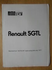 RENAULT 5 GTL 1977 UK Mkt Road Test Brochure