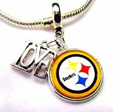PITTSBURGH STEELERS Love Sports Charm NFL Football Team Logo European FREE POUCH